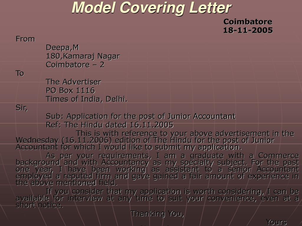 Model Covering Letter