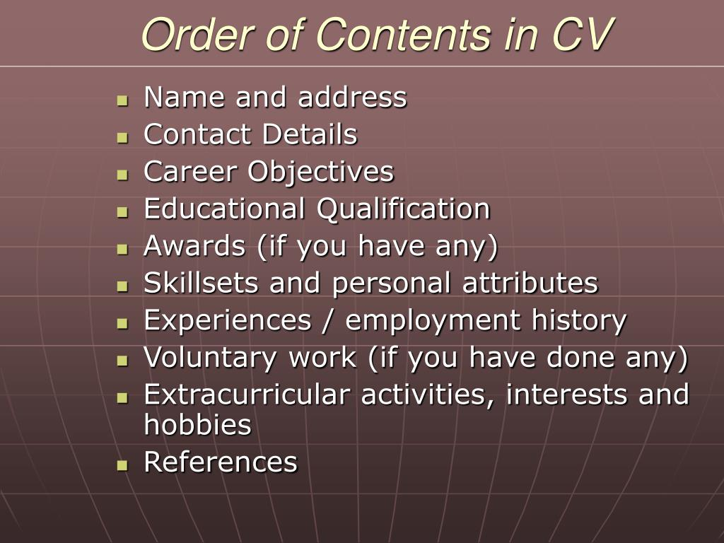 Order of Contents in CV