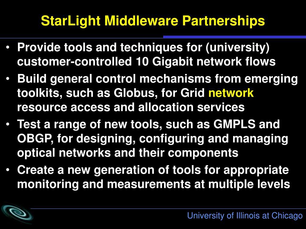 StarLight Middleware Partnerships