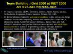 team building igrid 2000 at inet 2000 july 18 21 2000 yokohama japan