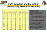 fy11 selection and branching active duty branch distribution