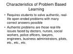 characteristics of problem based learning