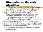 discussion on the k nn algorithm