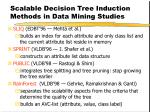 scalable decision tree induction methods in data mining studies
