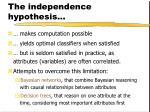 the independence hypothesis