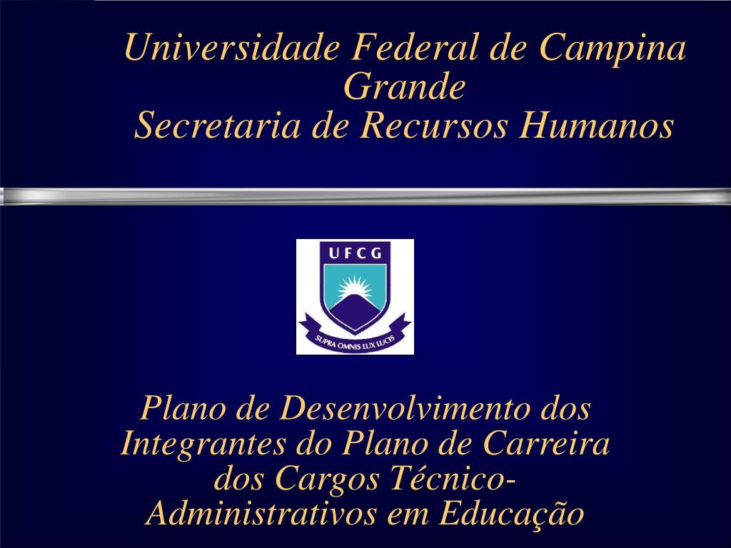 universidade federal de campina grande secretaria de recursos humanos l.