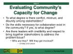 evaluating community s capacity for change