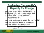 evaluating community s capacity for change42