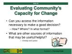 evaluating community s capacity for change43