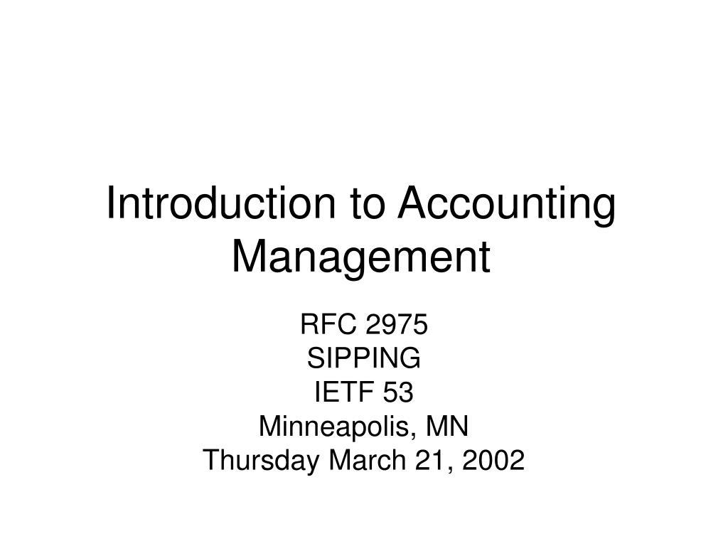 Introduction to Accounting Management