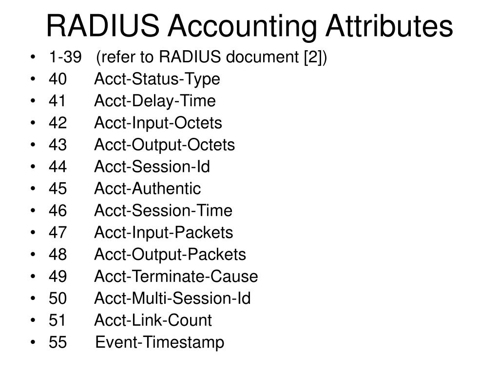 RADIUS Accounting Attributes