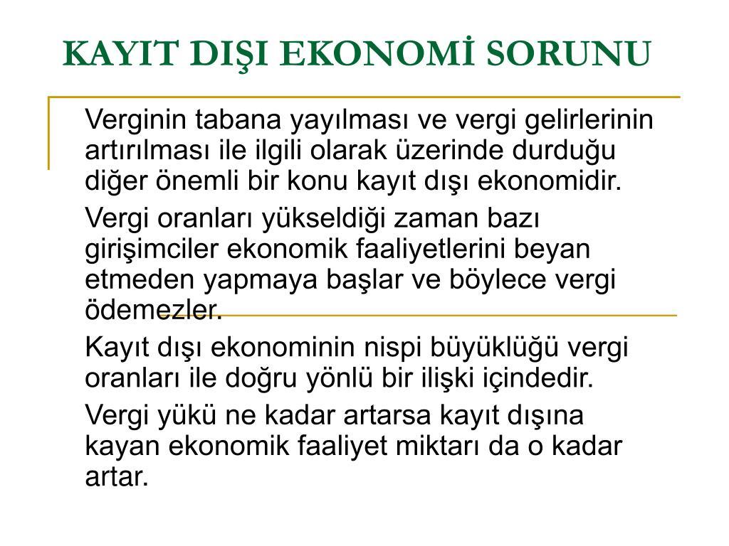 kayit di i ekonom sorunu l.