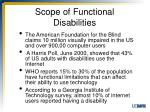 scope of functional disabilities