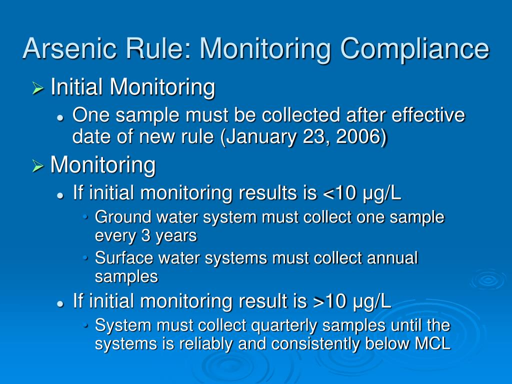 Arsenic Rule: Monitoring Compliance