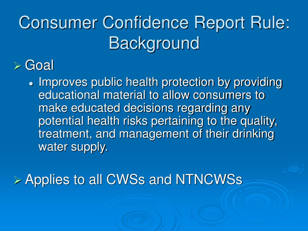 Consumer Confidence Report Rule: Background