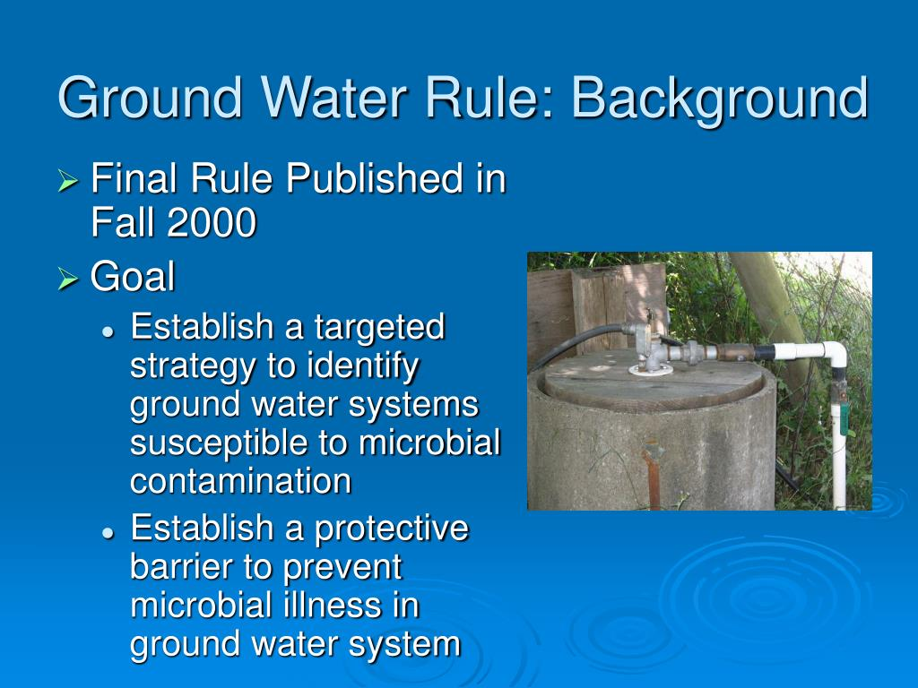 Ground Water Rule: Background