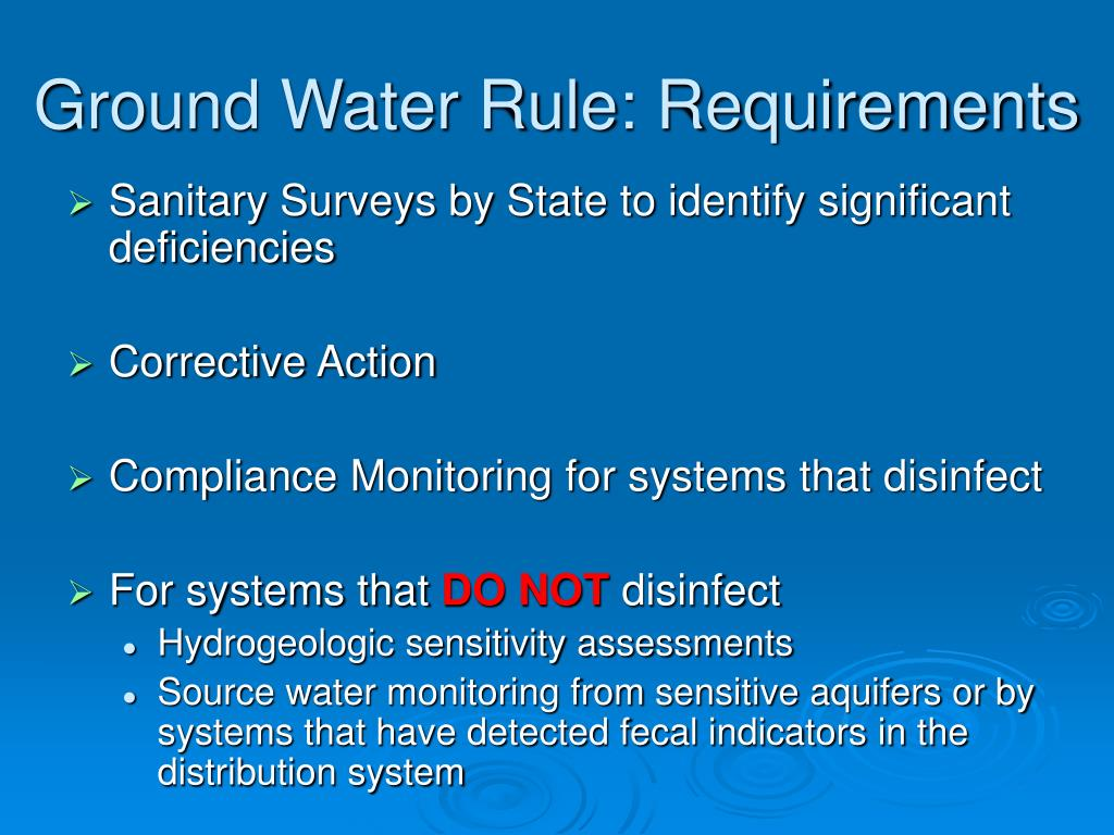 Ground Water Rule: Requirements