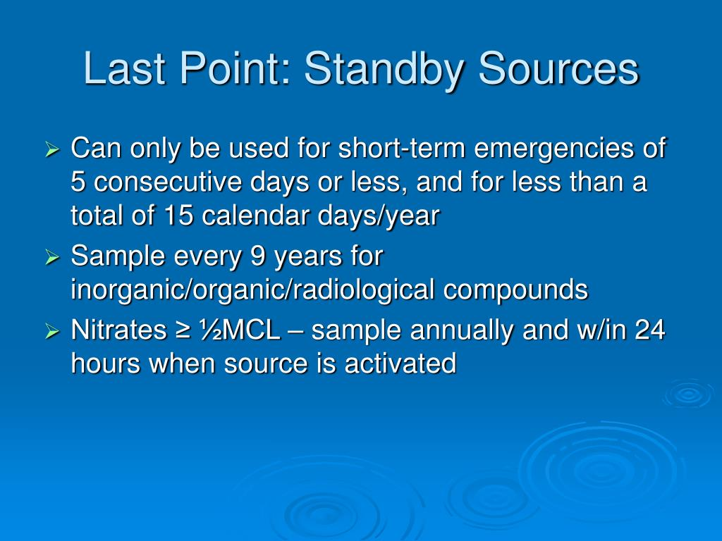 Last Point: Standby Sources