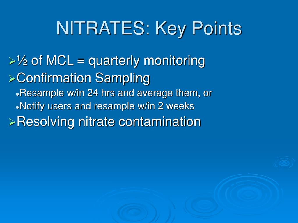 NITRATES: Key Points