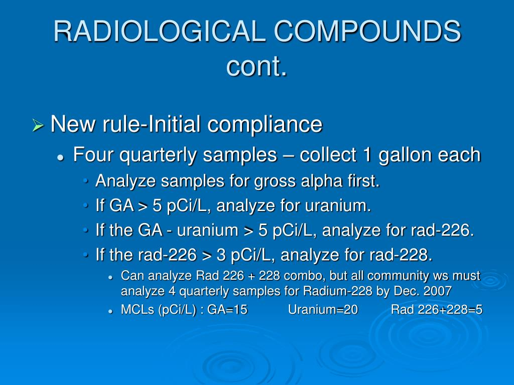 RADIOLOGICAL COMPOUNDS cont.