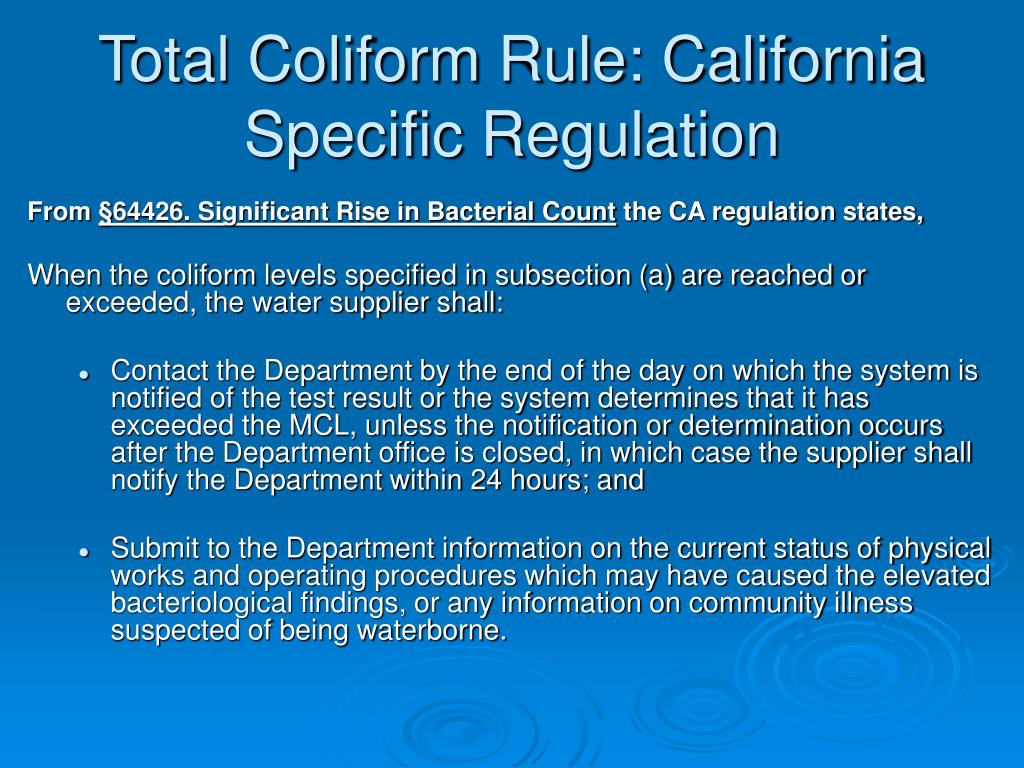 Total Coliform Rule: California Specific Regulation