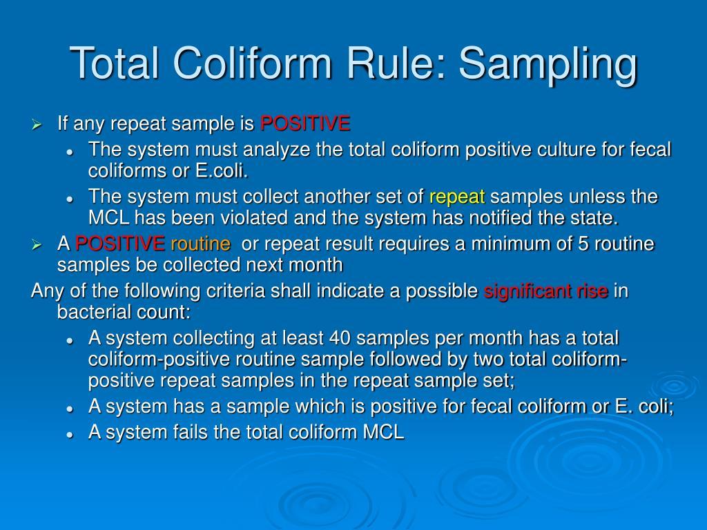 Total Coliform Rule: Sampling