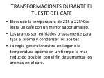 transformaciones durante el tueste del cafe