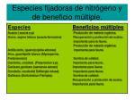especies fijadoras de nitr geno y de beneficio m ltiple