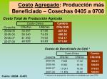 costo agregado producci n m s beneficiado cosechas 0405 a 0708