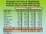 evoluci n del costo de beneficiado aceptado por ley 2762 elaboraci n cosechas 0405 a 0708 cr 46 kg