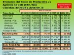 evoluci n del costo de producci n a agr cola de caf cr fan cosechas 2004 05 a 2008 09 b