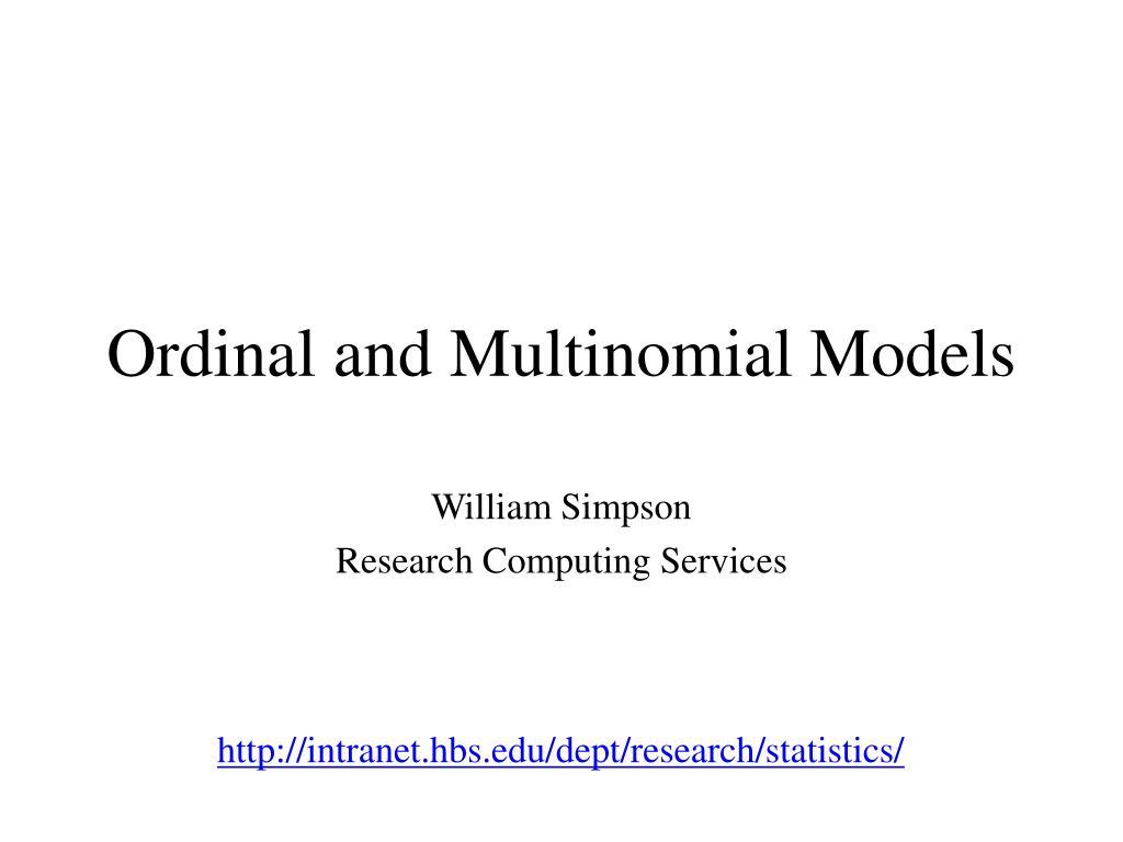 ordinal and multinomial models l.