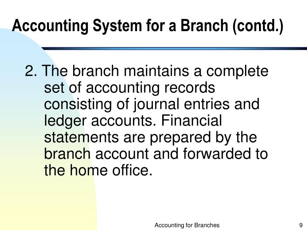 Accounting System for a Branch (contd.)