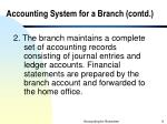 accounting system for a branch contd