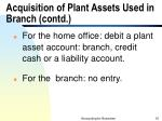 acquisition of plant assets used in branch contd