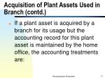 acquisition of plant assets used in branch contd17