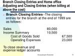 branch closing entries and home office adjusting and closing entries when billing at above the cost