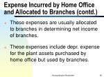 expense incurred by home office and allocated to branches contd