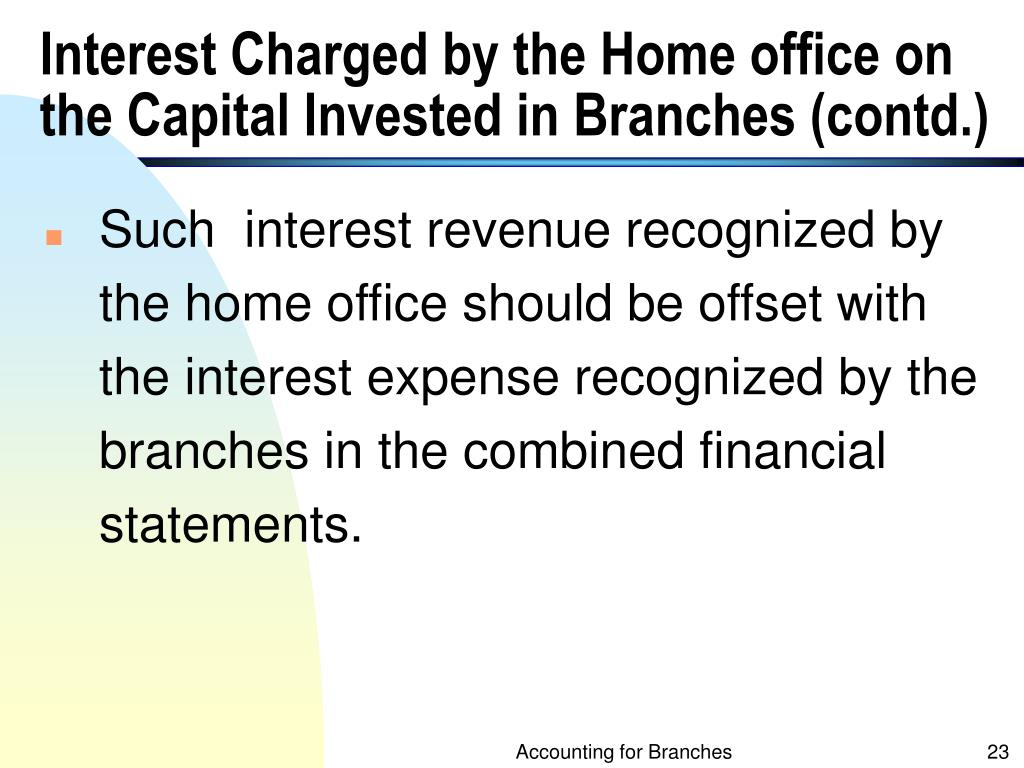 Interest Charged by the Home office on the Capital Invested in Branches (contd.)