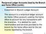 reciprocal ledger accounts used by the branch and home office contd13
