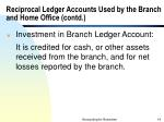 reciprocal ledger accounts used by the branch and home office contd14