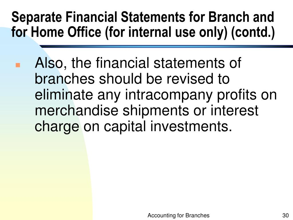 Separate Financial Statements for Branch and for Home Office (for internal use only) (contd.)