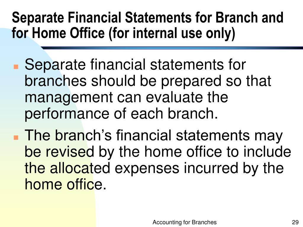 Separate Financial Statements for Branch and for Home Office (for internal use only)