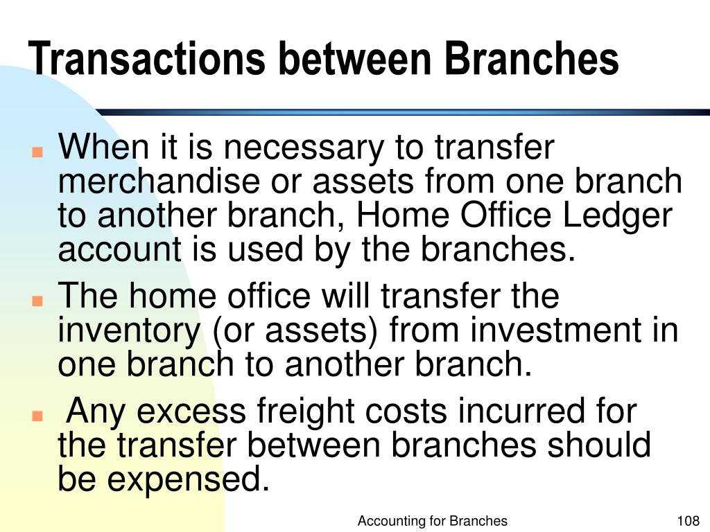 Transactions between Branches
