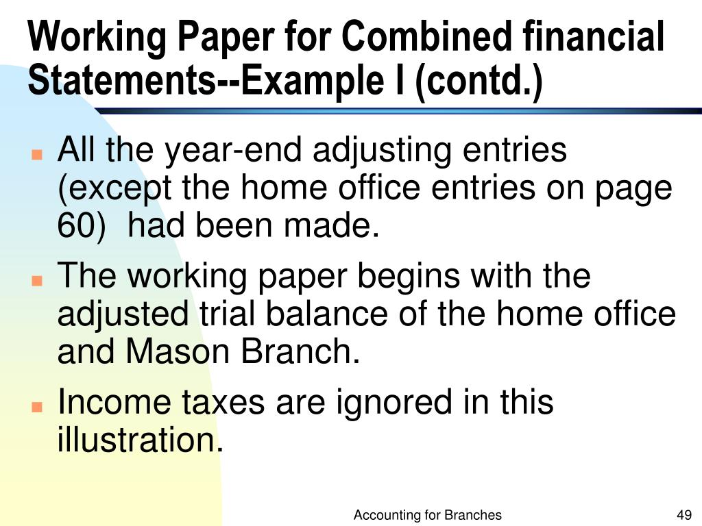 Working Paper for Combined financial Statements--Example I (contd.)