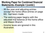 working paper for combined financial statements example i contd49