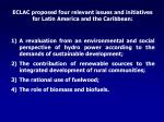eclac proposed four relevant issues and initiatives for latin america and the caribbean