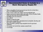 recommended items to include in a basic emergency supply kit