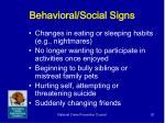 behavioral social signs