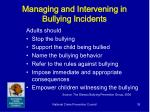 managing and intervening in bullying incidents